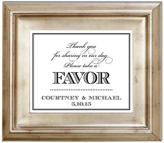 8x10 Please Take A Favor Wedding Sign By SerenityNowStudio On Etsy