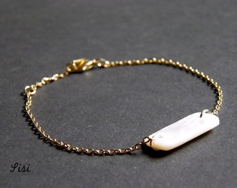 Gold-plated bracelet rectancle material nacre