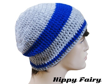 Royal Blue striped mens beanie