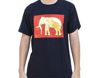 Royal Elephant Screen Print T Shirt Black