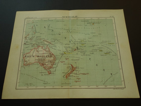 Old map of Australia New Zealand and the Pacific in 1882 Dutch