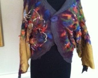 One of a kind Nuno Felt Bolero Jacket Handmade by CID Textile Art