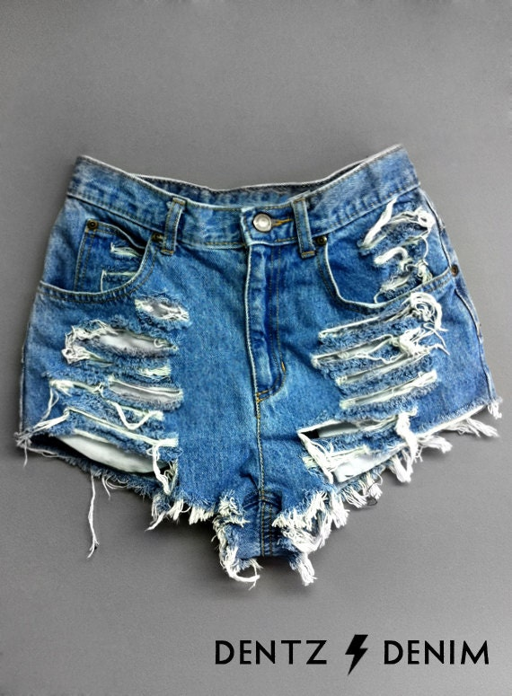High Waisted Jean Shorts Shredded Blue Denim Shorts High