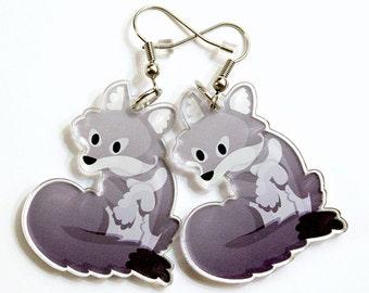 Cute Wolf Earrings, wolves, gray fox, gray wolf, wolf jewelry, cute earrings, kawaii animals,