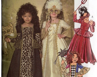 MARDI GRAS RENAISSANCE Masquerade Costumes Butterick Pattern 4887 Children/Girls 2 3 4 5