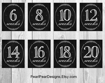 Weekly Pregnancy Chalkboard  Countdown Weeks (even weeks 6-40) 18 digital files - pregnancy week by week 16x20