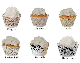 25 MINI Cupcake Wrappers from Paper Orchid  - Choose from 6 laser cut designs