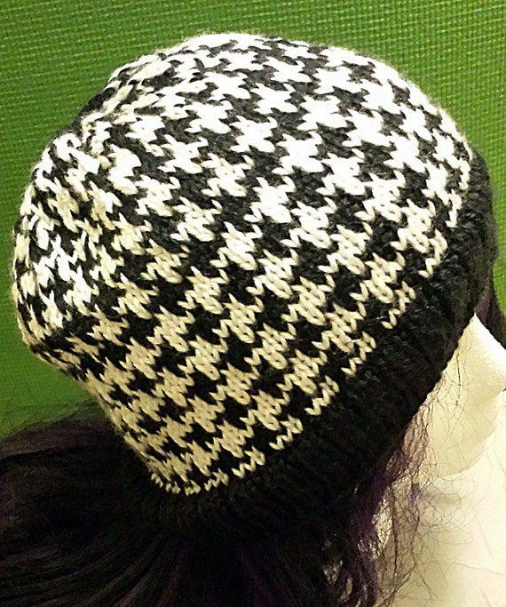 Knit Houndstooth Hat