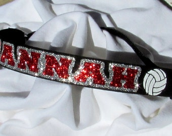 Personalized Volleyball Glitter Adjustable Headband with Non-Slip Velvet Backing and White Volleyballs on Either Side  - 10 Colors