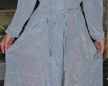 Yolande Rayon Crepe Blue Bathrobe Negligee