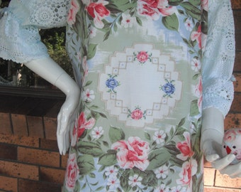 Peasant style Blouse Upcycled Vintage Roses