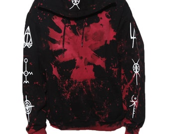 Glow in the dark splatter pull over hoody with tribal lettering occult symbols die antwoord ZEF glows in the dark!