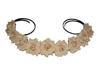 Beige Rose Flower Crown / Flower Halo - The Lucky Crown