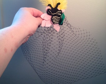 Bumblebee Hand-embroidered Fascinator