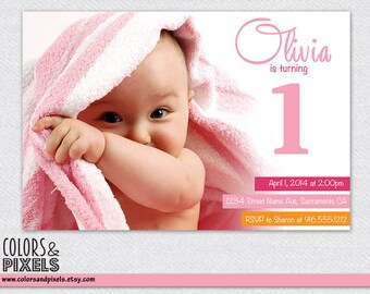 Birthday Invitation, Birthday Printable, DIY Invitation, Digital Invitation, Birthday Invite, Girl Birthday, Pink Birthday, 1st Birthday