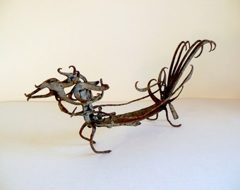 Dragon Mid Century Brutalist Style Folk Art Sculpture