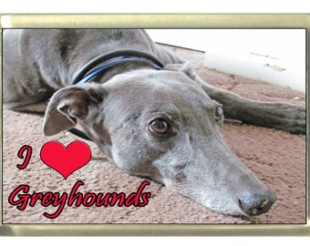 I Love Greyhounds Dog Fridge Magnet 7cm by 4.5cm,