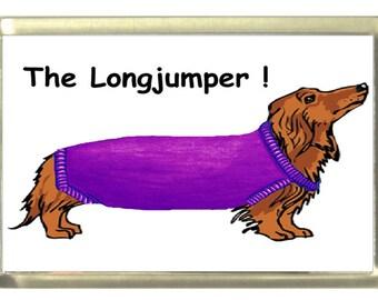 Dachshund Long Dog Fridge Magnet 7cm by 4.5cm, The Longjumper