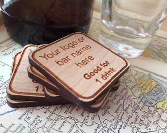 Wooden Drink Tokens - Bar Promotional Items - Bar tokens Customized