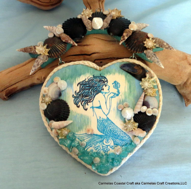 Mermaid heart beach decor beach home by carmelascoastalcraft for Mermaid decorations for home