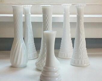 Milk Glass, Flower Vases, Mid Century Modern