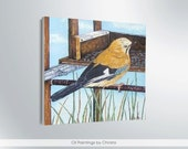 BIRD painting, Oil painting, 12x12i, Summer, Blue, canvas,  Birds, Fine art, Wall decor,illustration, birthday gift, bird lovers, art