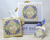 Get Well Card with Matching Tea Envelope and Gift Tag - Gift Set - Time for Tea - Lavender Card - Blank Card - Get Well Soon