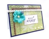 Best Wishes Card - Wedding Card - Engagement Card - Blue Flower - White Lace Trim - Botanical Print