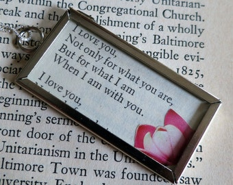 Romantic Flowers and Poetry Book Page Two-Sided Frame Pendant