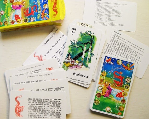 Dragon Mystique Chinese Fortune Cards. Encrypted messages! 1970s