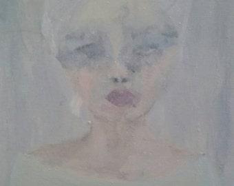 Original acrylic soft shabby chic  feminine ethereal  lady