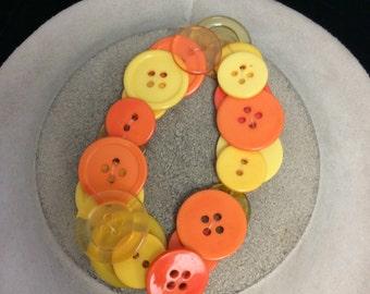 Vintage Unique Orange & Yellow Button Bracelet