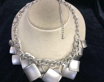 Vintage Chunky Silvertone Dangling Necklace