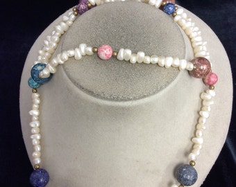 Vintage White & Multi Colored Glass Beaded Necklace
