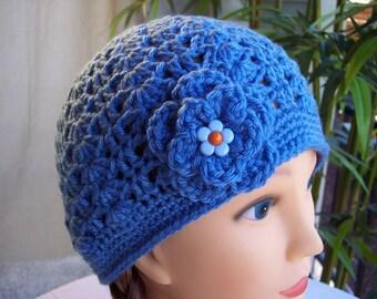Woman's Crocheted Blue Beanie