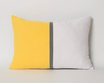 Yellow And White Pillow Cover Colorblock Pillows White Yellow Pillows Gray Decorative Throw Pillow Cover For Couch Minimal Home Decor