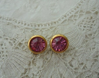 Pink glass earrings clip ons