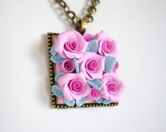 Polymer clay nacklace, Pink rose polymer clay necklace, Floral nacklace, Polymer clay roses, Pink rose, Polymer clay flower