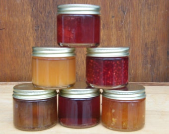 sampler homegrown jam, jelly, preserves, butters/ 6 - 2 oz. jars