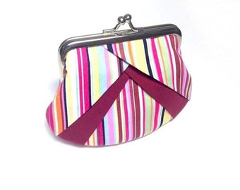 stripe print coin purse