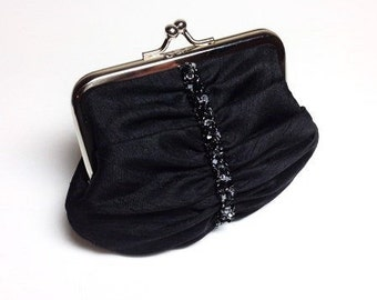 Black Swarovski beaded purse