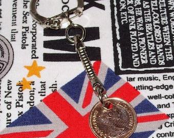 1973 British Half Pence Coin Keyring Key Chain Fob Queen Elizabeth II