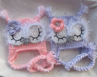 Newborn Twin Owl Hats ( Infant Owl Hats)  MADE TO ORDER, Purple Baby Owl Hat, Pink Baby Owl Hat, Baby Gift, Handmade Baby Hats, Crochet Hat