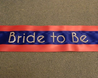 Bride-to-Be Sash, Cobalt Blue and Cyclamen Pink Satin