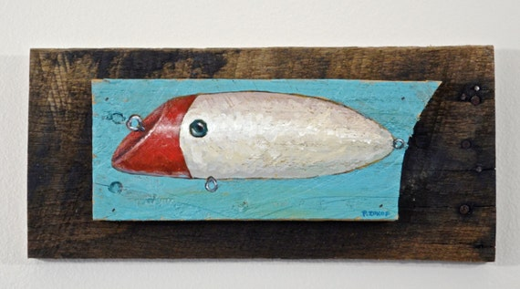 Rustic fishing lure painting in red and white fishing lure for Fishing lure paint