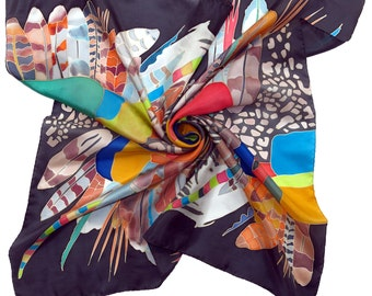 Silk scarf Africa dance in Spring Night. Hand painted silk scarf Black scarf, yellow, blue, red painted scarf Black scarves silk