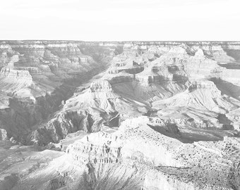 "Grand Canyon Wall Mural, Scenic Black and White Wallpaper, Vintage Scene - 100"" x 108"""