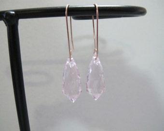 Kunzite Solid Rose Gold Earrings