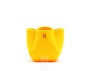 Yellow soft felt cachepot, bonbonniere idea, original placemark.