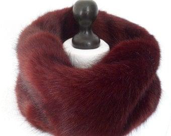 wine faux fur snood, burgundy fur scarf, burgundy cowl